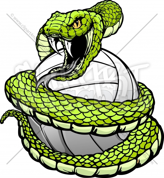 Viper Volleyball Clipart – Snake coiled around a Volleyball