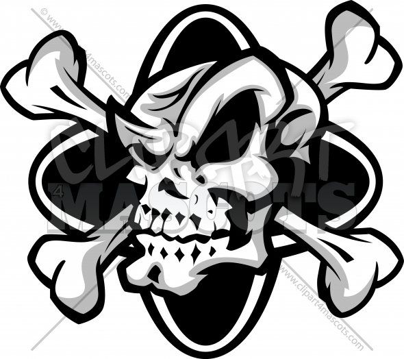 Skull And Crossbones Graphic Vector Cartoon