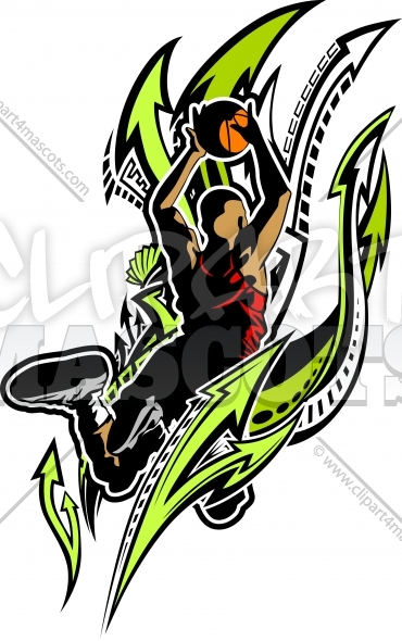 Basketball Design – Basketball Player Dunking Ball Vector Clipart Image