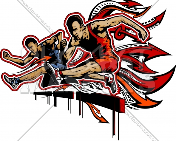 Hurdles Clipart – Vector Silhouettes of Track and Field Athletes