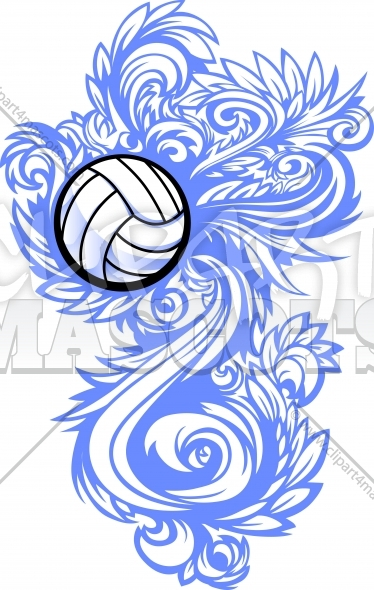 Volleyball Clipart Design Ornate Graphic Vector Template