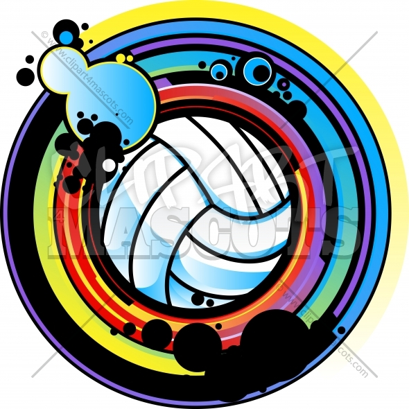 Volleyball Design – Vector Clipart with Graphic Volleyball