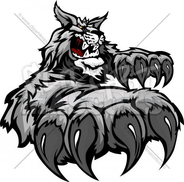 Wildcat Clipart Mascot with Claws Vector Image
