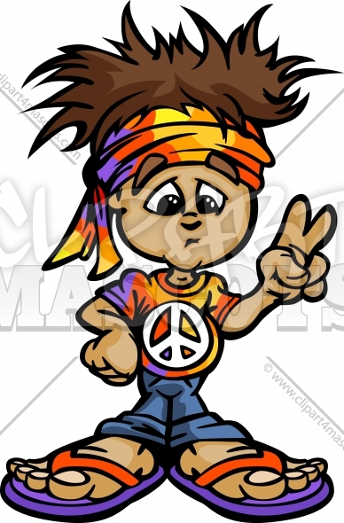Hippie Clipart Cartoon Vector Illustration