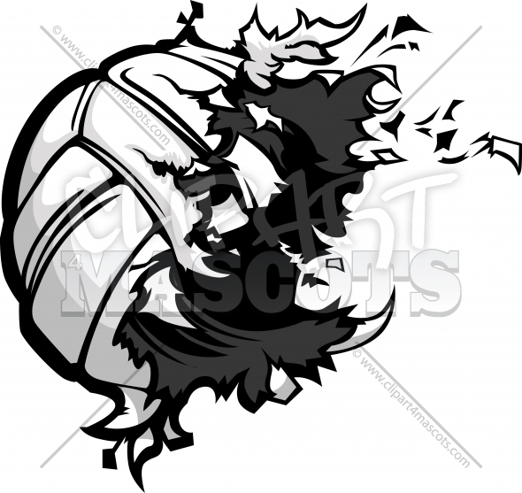 Volleyball Explosion Vector Clipart Image