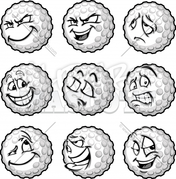 Sad Golf Ball Face Expressions with a Variety of Other Facial Expressions