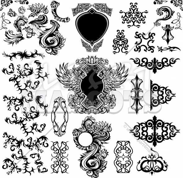 Vector Ornate Shapes Elements Clipart Collection