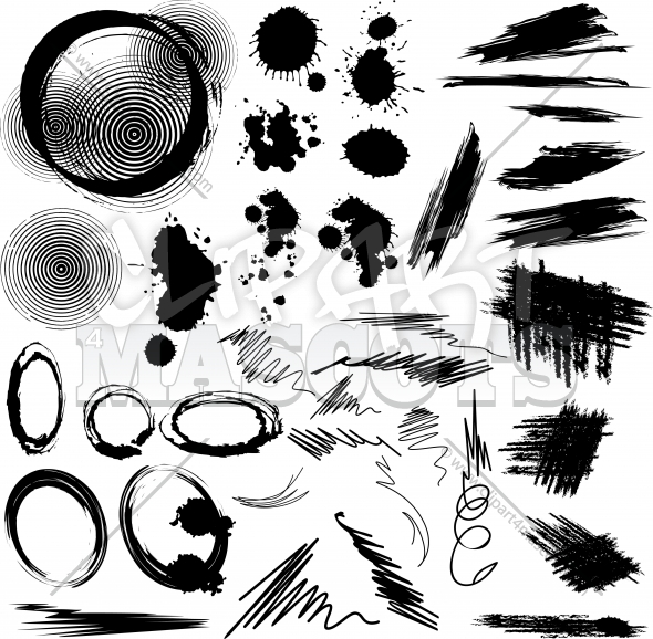Grunge Stains Vector Design Elements Clipart Collection