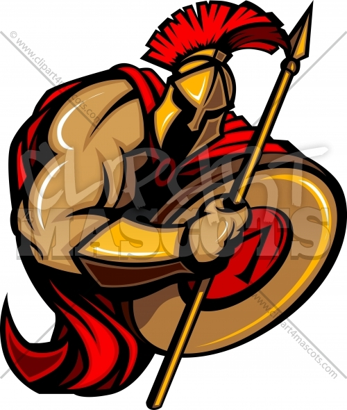 Spartan Mascot Vector Cartoon with Spear and Shield