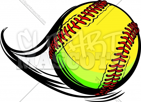 Softball Ball Clipart with Laces and Movement Lines Vector Image Softball Ball Clipart with Laces and Movement Lines Vector Image