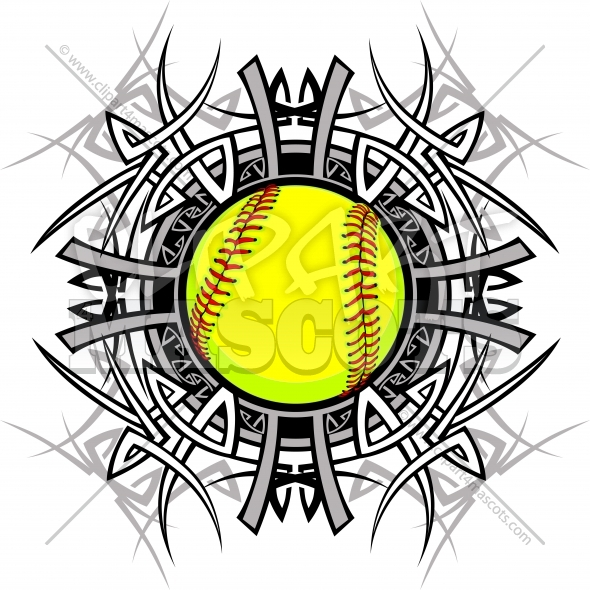 Softball Tribal Logo Vector Graphic Clipart Image