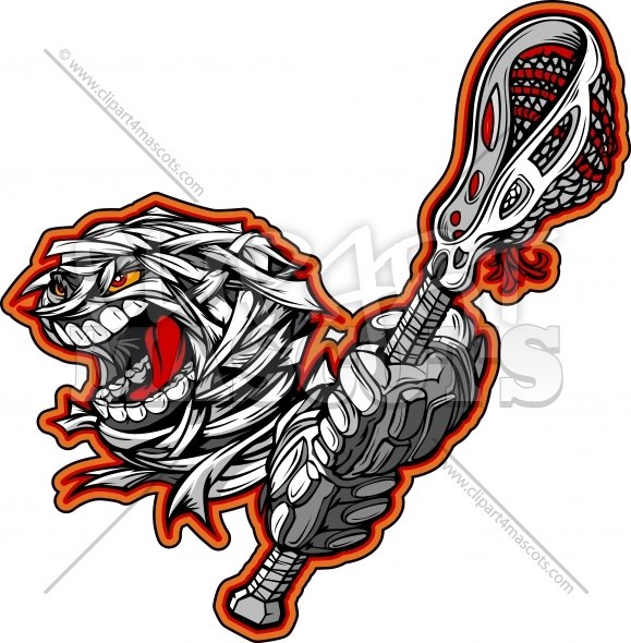 Lacrosse Mummy Monster with Lacrosse Stick Cartoon Vector Clipart Image