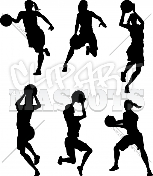 Basketball Silhouettes Clipart Vector Image