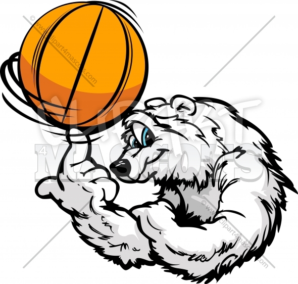 Basketball Polar Bear Cartoon Vector Clipart Image