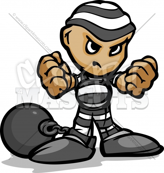 Prisoner Clipart Vector Cartoon Image