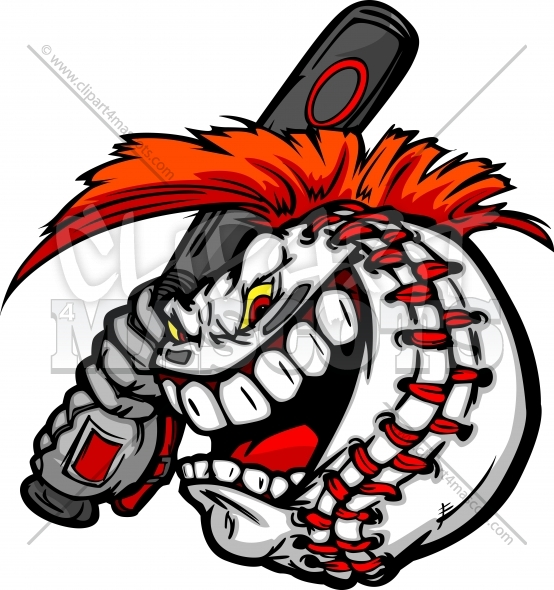 Baseball Ball Cartoon Vector Clipart Image