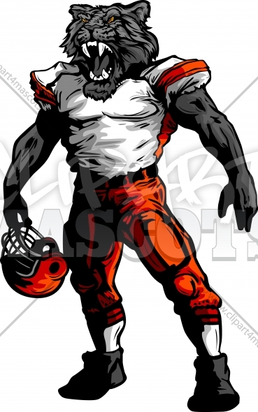 Football Panther Clipart Vector Mascot Image