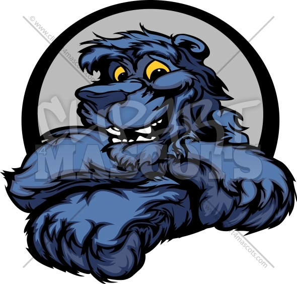 Cute Panther Mascot Clipart Cartoon Vector Image