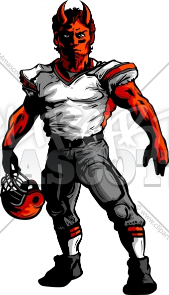 Devil Football Mascot Vector Clipart Image