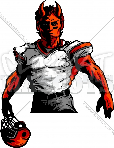Demon Football Mascot Vector Clipart Image