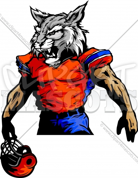Clipart Football Wildcat Player Vector Image