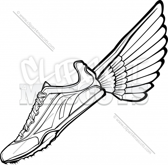 Track Shoe with Wing Vector Illustration