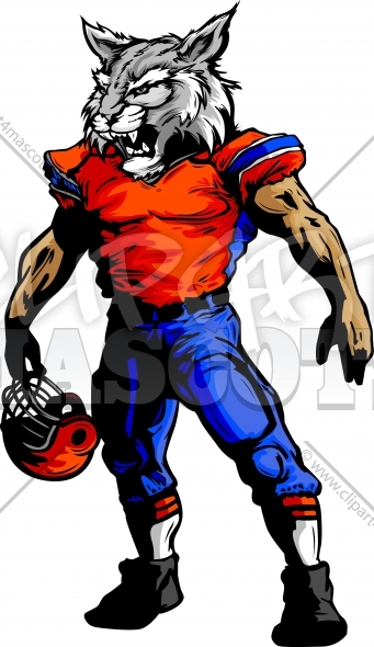 Football Clipart Wildcat Mascot Vector Image