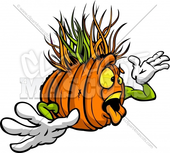 Wacky Cartoon Pumpkin Vector Halloween Clipart Image