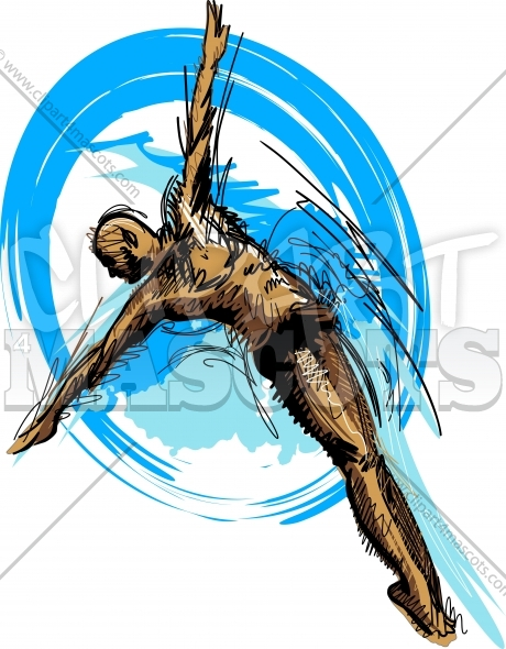 Swimming Diving Vector Sketch Silhouette