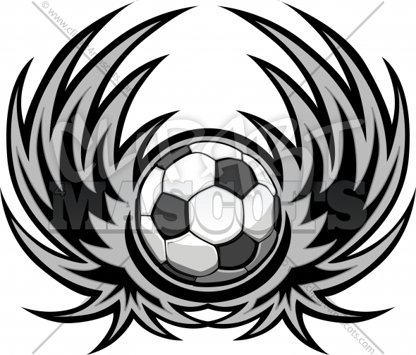 Soccer Wings Template Vector Clipart Image