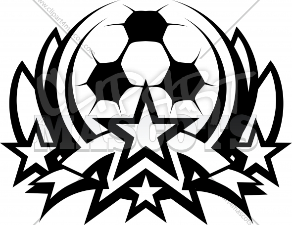 Soccer Ball with Stars Vector Clipart Template