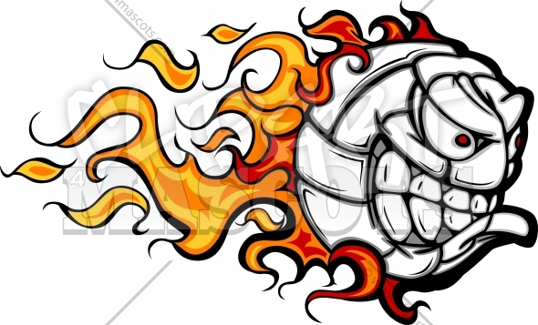 Volleyball Face with Flames Vector Clipart Image