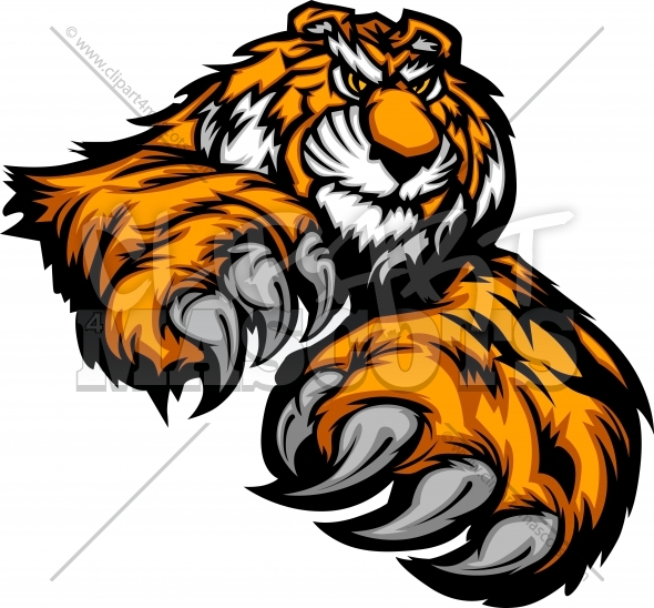 Tiger Mascot with Paws and Claws Vector Clipart Image