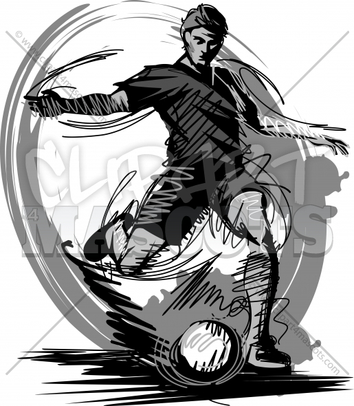 Soccer Player Kicking Soccer Ball Vector Illustration