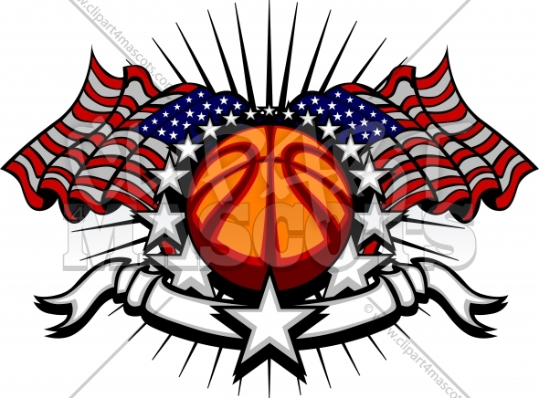 Basketball Vector Clipart Template with Flags and Stars Image