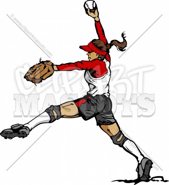 Fast Pitch Softball Girl Pitcher Vector Illustration