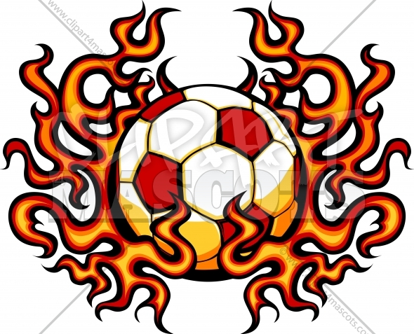 Soccer Template with Flames Vector Clipart Image