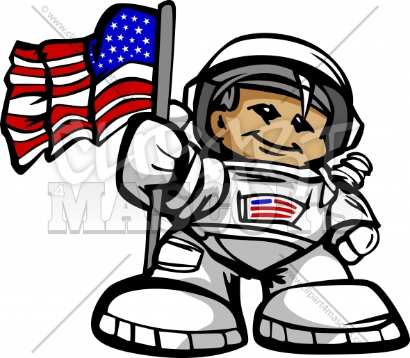 Happy Astronaut Spaceman with American Flag Cartoon Vector Illustration