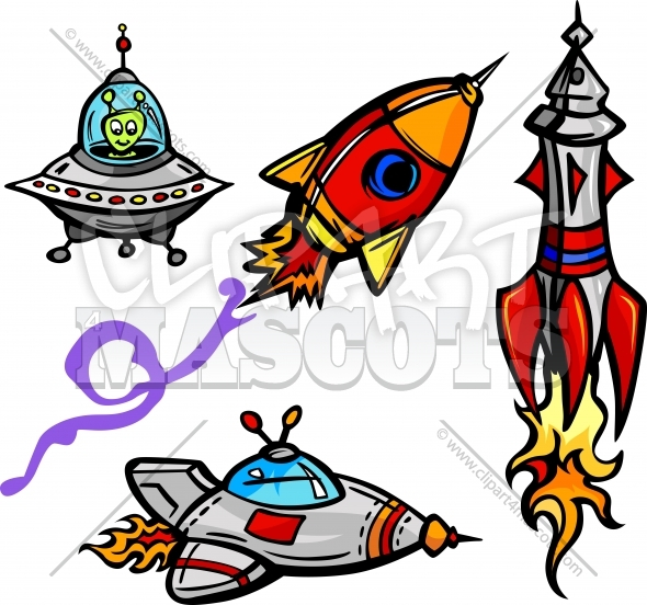 Space Ships and Rockets Cartoon Vector Illustrations Collection