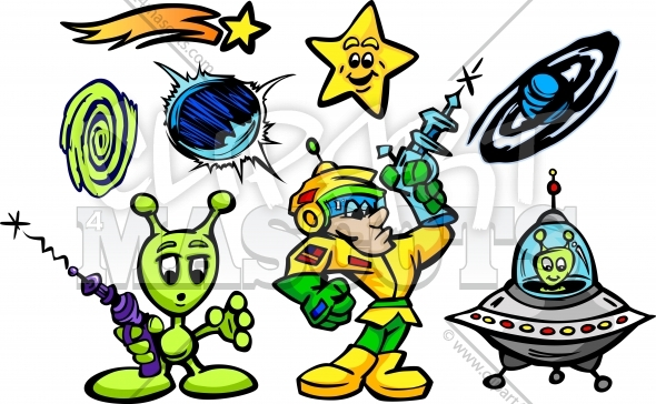 Aliens and Spaceman Cartoon Vector Illustrations Collection