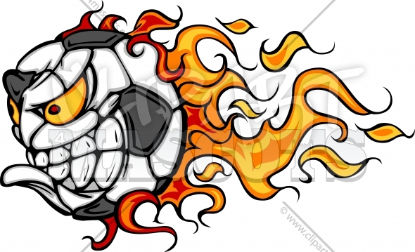 Flaming Soccer Ball Face Vector Image