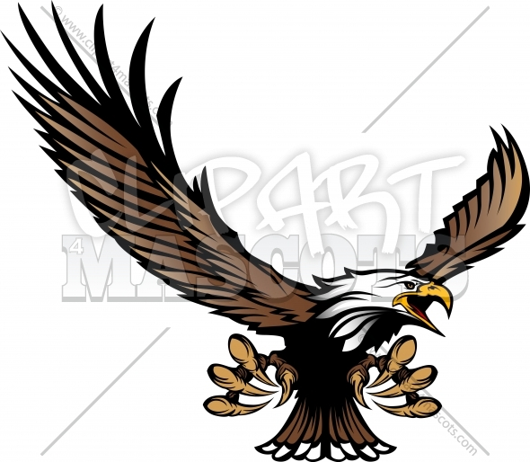 Eagle Mascot Flying with Talons and Wings