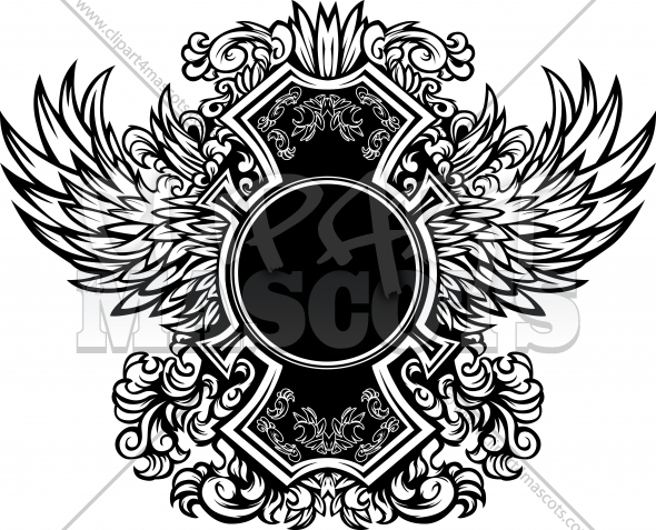 Ornate Graphic Vector Template with wings