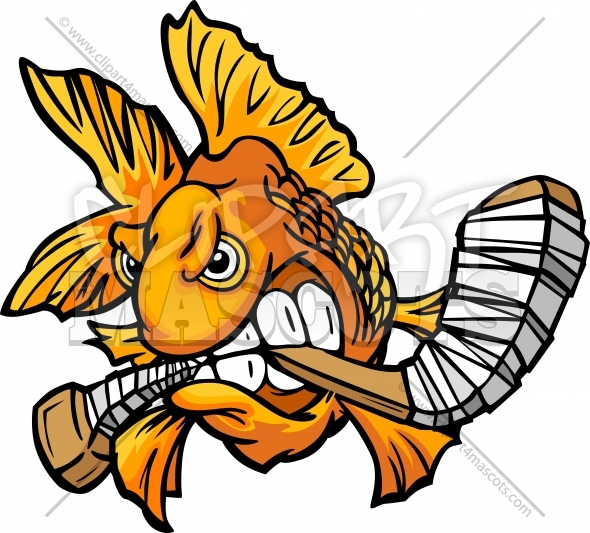 Goldfish Hockey Vector Cartoon Clipart Image
