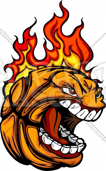 Basketball Ball Face with Flaming Hair Vector Sports Clipart Image