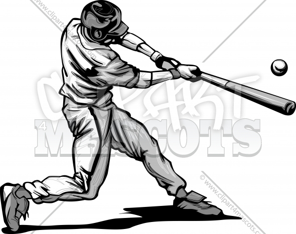 Baseball Batter Hitting Pitch Vector image