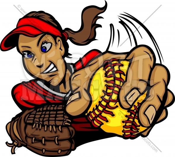 Fast Pitch Softball Pitcher Cartoon Vector Illustration
