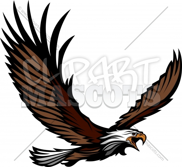 Flying Eagle Clipart Graphic Vector Logo