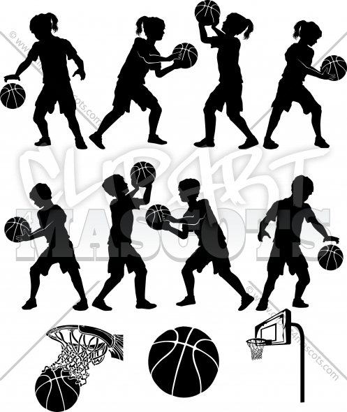 Boys Basketball Silhouettes Vector Clipart Images