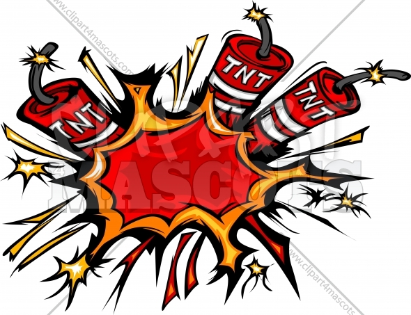 Dynamite Clipart Explosion Cartoon Vector Illustration